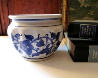 Vintage Blue and White Cachepot, Chinoiserie Planter, Hollywood Regency, Palm Beach Decor, Coffee Table Decor