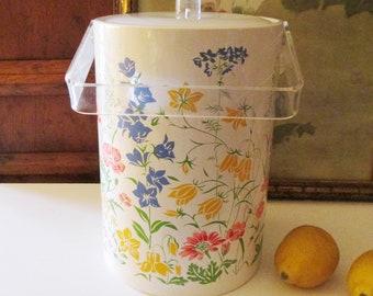 Tall Stotter Vintage Ice Bucket, Floral Ice Bucket, Ice Bucket, Lucite Handled Ice Bucket, 1970's Palm Beach Decor