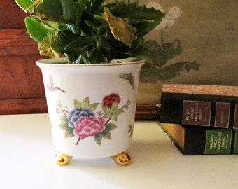 Butterflies and Floral Cache Pot, Palm Beach Decor, Porcelain Chinoiserie Planter, Footed Decorative Pot