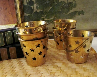 Six Brass Star Votive Cups, Cut Out Star Brass Cups, Celestial, Holiday Decor, Fourth of July Decor, Gold Tea Candle Cups