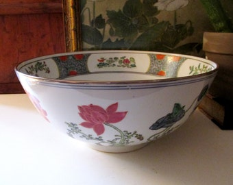 Vintage Koi Fish Oriental Bowl, Chinoiserie Coffee Table Bowl, Decorative Lotus Flower Coral and Blue Japanese Porcelain Bowl