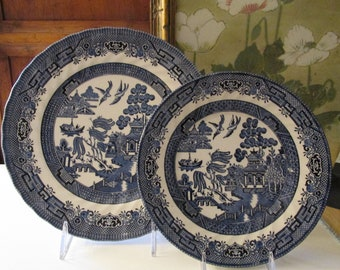 Royal Wessex Blue Willow Dinnerware, Blue and White Chinoisere, English Ironstone, Dinner Plate, Salad Plate, Bread and Butter Plate