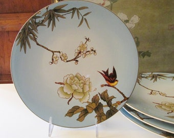 "Six Vintage ""Chinoiserie"" Plates by Pier 1 Imports, Stoneware Dinner Plates, Blue Floral and Bird Plates, Chinoiserie Chic Dinnerware"
