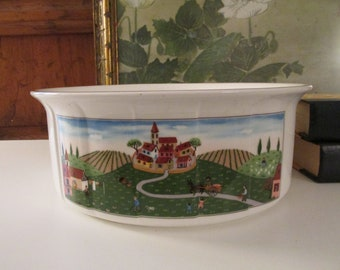 Vintage Design Naif Large Souffle Dish, Casserole Dish by Villeroy & Boch, Country Farmhouse Chic Dinnerware, Oven to Tableware