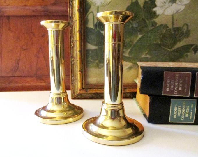 Featured listing image: Vintage Baldwin Brass Candlesticks, Mantel Decor, Traditional Decor, English Country Decor, Federal Style, Column Candlesticks
