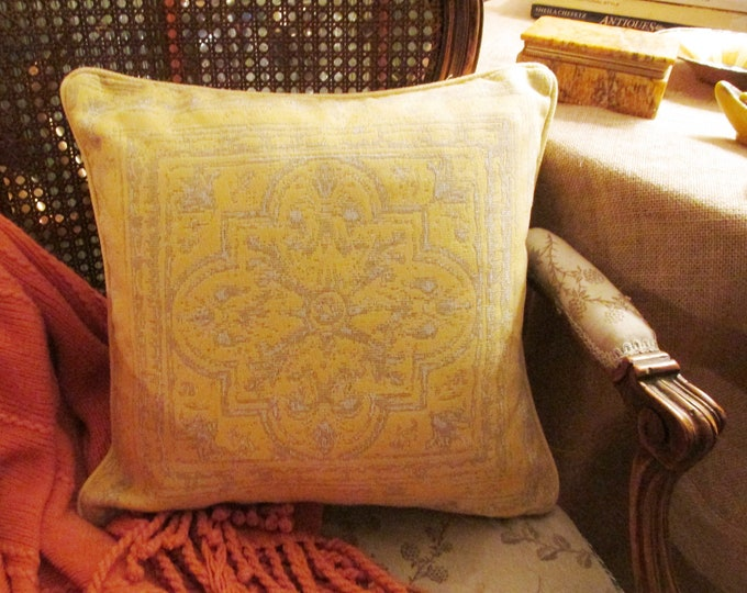 """Featured listing image: Restoration Hardware Outdoor Pillow Cover, 16"""" x 16"""", Corsica Tile Pillow, Cote D'Azur, Indoor or Outdoor Yellow Tile Pillow"""