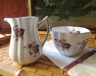 Elizabethan  Creamer and  Sugar, Violet Creamer and Open Sugar, Romantic Decor, Tea Party Decor, Violet Porcelain Sugar Bowl