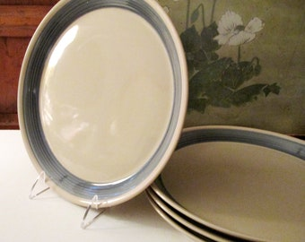 "Four Mikasa Discovery ""Blue Thunder"" Dinner Plates, Beach Blue and Sand Dinnerware, Ben Seibel Design"