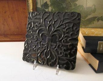 Vintage Frankoma Fleur de Lis Tile Trivet, Black Pottery Hot Plate, Plant Stand, French Chic Decor, French Chic Decor