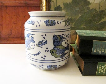 Vintage April Cornell Vase, Blue and White Chinoiserie Chic Flower Vase, Beach Coastal Decor, Palm Beach Decor, Fish Motif Vase