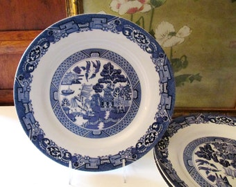 Four Blue Willow Dinner Plates, Royal Cuthbertson, Blue and White Transferware, Chinoiserie Plates