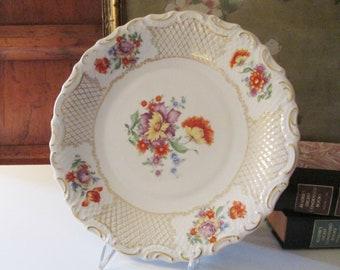 Schumann Bavaria Large Plate, Gift for Gardener, Schumann Empress Dresden Flowers , Romantic Decor, Gallery Wall Decor, Mother's Day Gift