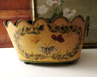 Yellow Monteith Style Toleware Cachepot, Tole Painted Planter, Coffee Table Decor, Hollywood Regency, Butterflies and Laurel Leaves