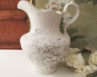 Antique Edwin M. Knowles China Co. Semi Vitreous Large Jug, White and Grey Floral Water Pitcher, Farmhouse Decor, White Ironstone