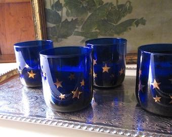 Vintage Celestial Glassware, Cobalt Blue Double Old Fashion Glasses, Set of Four Hollywood Regency Glasses, Barware, Cocktail Party Decor