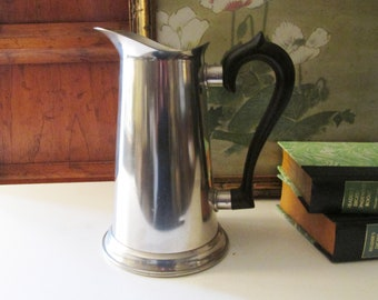 Vintage Kirks Pewter Pitcher, Colonial Style Pewter Jug, Wood Handle, Farmhouse Decor
