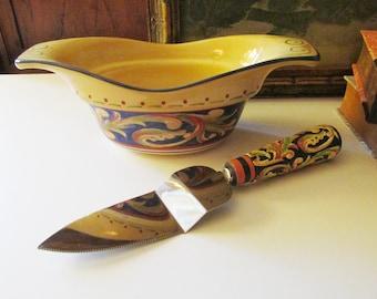 Vintage Pfaltzgraff Villa Della Luna Blue Dinnerware, Serving Pieces, Napkin Holder, Gravy Boat, Italian Style