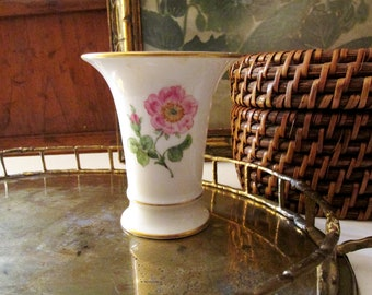Vintage Meissen Floral Porecelain Vase, Trumpet Style Vase, Vanity Table Bub Vase, Grandmillennial Style