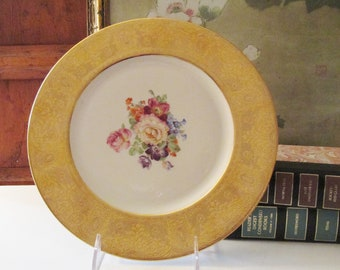 1970's Royal China Decorative Plate, Gilded Wide Rim, Cabinet Plate, Gold Encrusted Decorative Plate