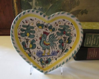 Vintage Italian Rooster Tray, Heart Shaped Hand Painted Trinket Tray, Teal and Yellow