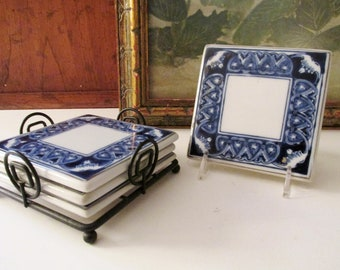 """Vintage Blue and White  Coaster Set, Bombay Company """"Tile"""" Coasters, Alfresco Dining, Chinoiserie Chic"""