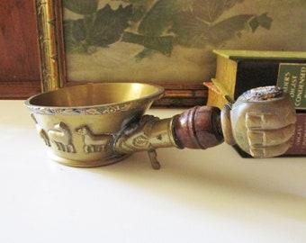 Vintage Chinese Brass and Wood Silk Iron, Brass Chinoiseire Decor, Decorative Oriental Brass