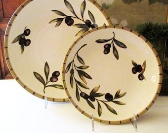 "Vintage Williams Sonoma ""Liguria"" Serving Bowl, Four Vintage Large Pasta Bowls, Olive Branches Bowls, Tuscany Decor, Farmhouse Kitchen"