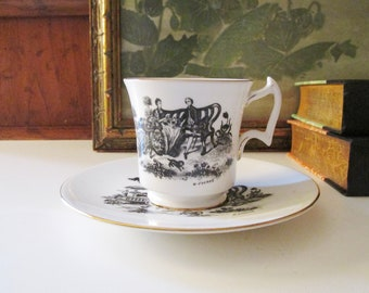 """Vintage Royal Chelsea """"Tea Party"""" Teacup and Saucer, Black and White Teacup, Romantic China, Fragonard Style, Grandmillennial Style"""
