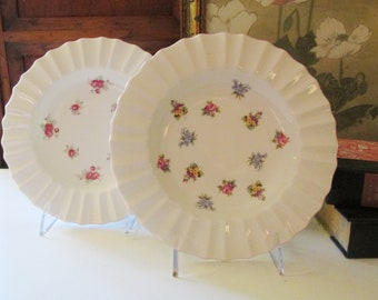 Vintage Crown Staffordshire Set of English Floral Shallow Bowls, Floral Bouquet, Sweetheart Rose, English Cottage Decor