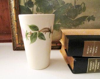 Vintage Desert Rose USA Tall Tumbler, Franciscan Earthenware,  Pink and Green Vase, Cottage Chic, Gift for Gardener, Alfresco Dining