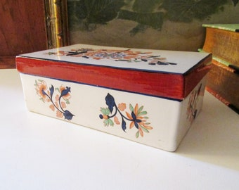 Vintage Ethan Allen Italian Pottery Box, Trinket Box, Coffee Table Decor, English Country, Chinoiserie Floral Box
