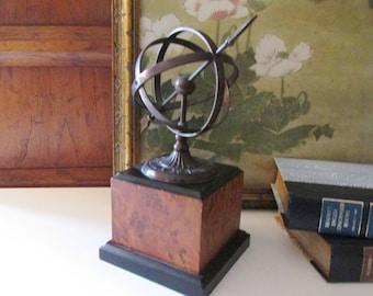 World Globe Sculpture, Mounted Metal Decorative Globe, Home Office Decor, Bookcase Decor