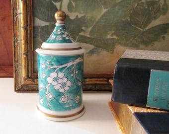 Vintage Teal Cherry Blossom Jar, Made in Portugal, Chinoiserie Vintage Gift, Trinket Jar, Vanity Decor