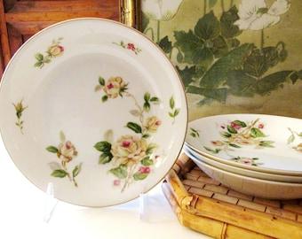"Four Vintage ""Golden Rose"" Coupe Soup Bowls, Romantic Yellow Rose Porcelain Bowls, Cottage Rose Dinnerware"