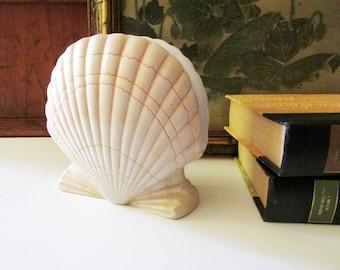 Vintage Otagiri Peach Clam Shell Napkin Holder, Ceramic Letter Holder, Palm Beach Decor, 1996