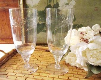 Vintage Set of Four Water Goblets, Etched Tea Glasses, Etched Stem Glassware