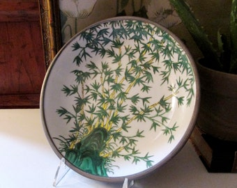 Large Decorative Japanese Porcelain Dish, Pewter Tone Encased , Chinoiserie Bamboo Charger, Green and Yellow Bamboo Dish