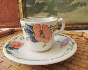 """Vintage  """"Amapola"""" Tea Cup and Saucer by Villeroy & Boch, Floral Poppy, 1980's, Germany Porcelain, Teacup, Coffee Cup"""