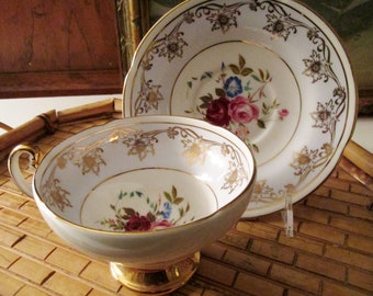 Vintage Old Royal Bone China Teacup and Saucer, English Teacup, Gold Footed Teacup, Gilded Teacup, Tea Party Decor