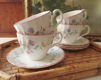 Four Johnson Bros Summer Chintz Teacups and Saucers, Vintage Teacups, Tea Party Decor, English Floral Cups, Cottage Chic, Mother's Day Gift