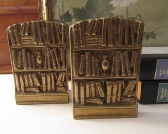 """Vintage """"Bookcase"""" Brass Bookends, Home Office Decor, Door Stops, Library Decor, Gift For Book Lover, Hollywood Regency"""