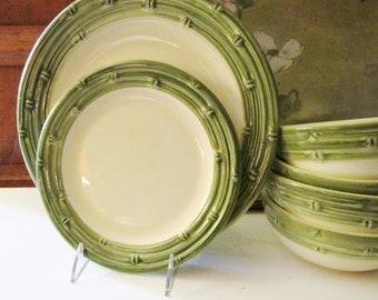 "Italian Bamboo Motif Dinnerware, Pier 1 ""Bamboo Relief"" Dinner Plates, Salad Plates, Cereal Bowls, Palm Beach Decor, Alfresco Dining"