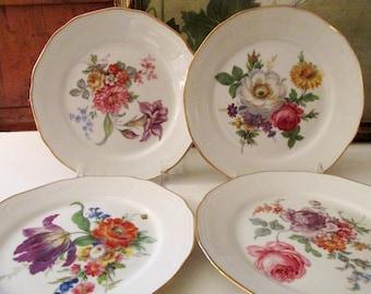 Four Vintage Bareuther Waldsassen Bavaria Flower Plates, Set of Four, Germany Dessert Plates, Romantic Flower Plates