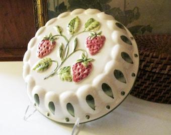 Vintage Italian Wall Plaque, Jello Mold, Strawberry Theme, Kitchen Decor, Hand Painted Decorative Strawberry Decor, Country Kitchen