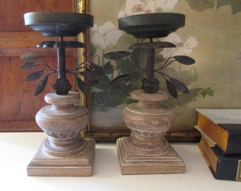 """Two Vintage Black Tole Metal and Wood Candle Holders, Tuscany Style, Pottery Barn, """" Estrella"""" Pillar Candle Holders, Mantel Decor"""