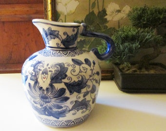 Vintage Chinoiserie Decorative Pitcher, Blue and White Jug, Chinoiserie Decor, French Country,