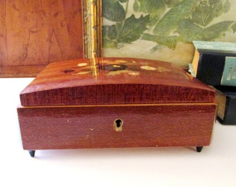 Vintage Marquetry Inlaid Jewelry Box,  Musical Jewelry Box, Jewelry Box, 1970's Trinket Box