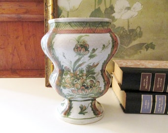 Vintage Meiselman Imports Pottery Vase, Hand Painted Tucany Style Vase, Italian Country Decor