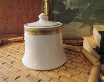 Vintage Jackson China Hollywood Regency Sugar Bowl, White and Gold Greek Key Design, Vanity Decor, Home Office Decor, Restaurant Ware