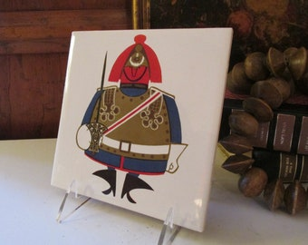 Vintage Kenneth Townsend Tile, English Decorative Tile, London Theme Souvenir, Made in England Changing Of The Guards Mod Tile